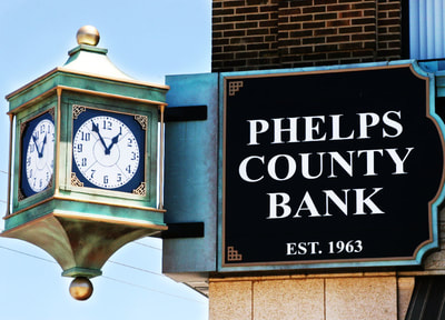 Side view of Phelps County Bank Sign